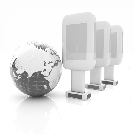 Vertical glossy billboards and earth. 3d illustration on white background  Stock Photo
