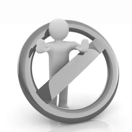 3d person and stop sign  Stock Photo