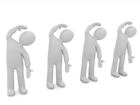 3d mans isolated on white. Series: morning exercises - flexibility exercises and stretching  photo