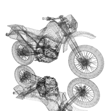 amusement park black and white: 3d sport motocross bike Stock Photo