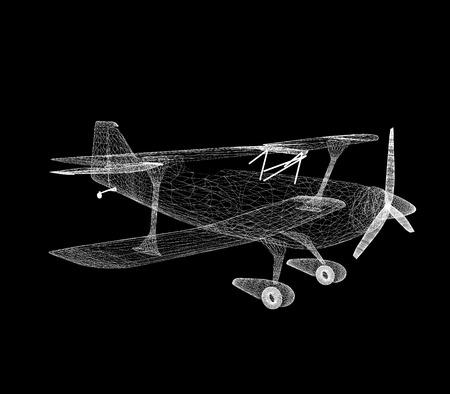 retro airplane isolated on black background  photo