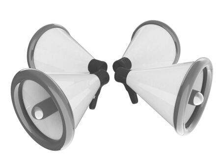 announcement icon: Loudspeakers as announcement icon. Illustration on white  Stock Photo