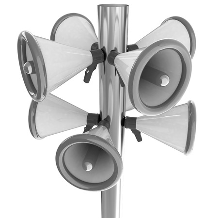 announcement icon: Loudspeakers as announcement icon. Illustration on white