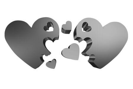3d hearts family concept photo