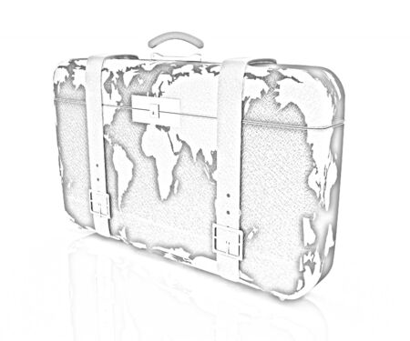 suitcase for travel on a white background photo