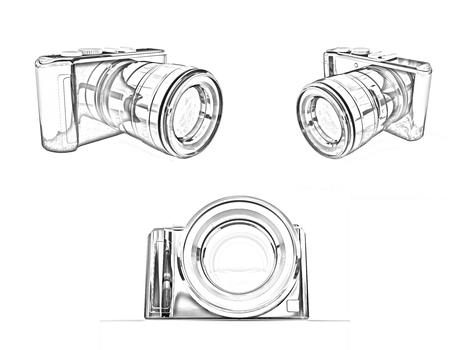 3d illustration of photographic camera on white background