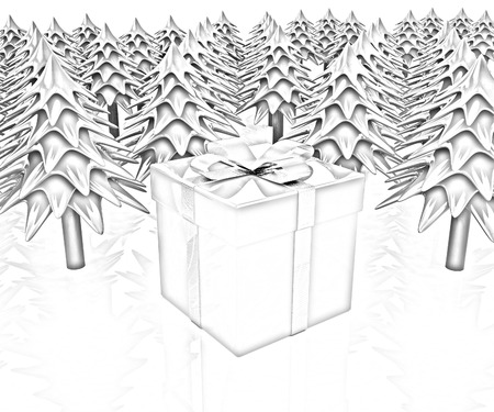 Christmas trees and gift on a white background photo
