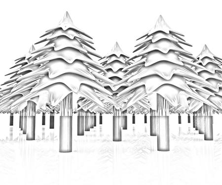 Christmas trees on a white background photo