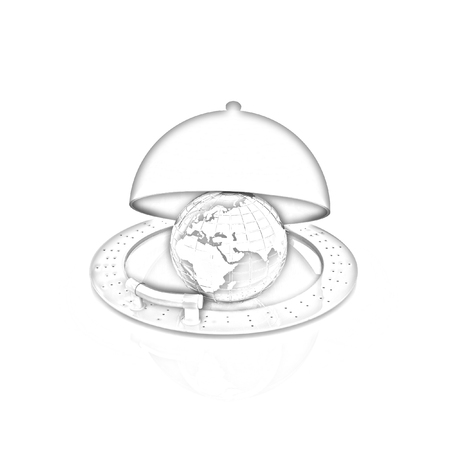 Earth globe on glossy silver dish under food cover over isolated on white photo