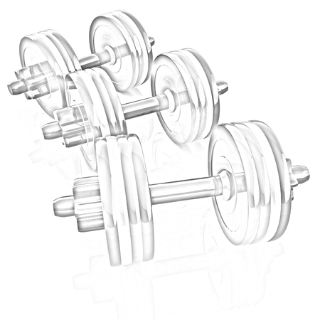 Colorful dumbbells on a white background photo