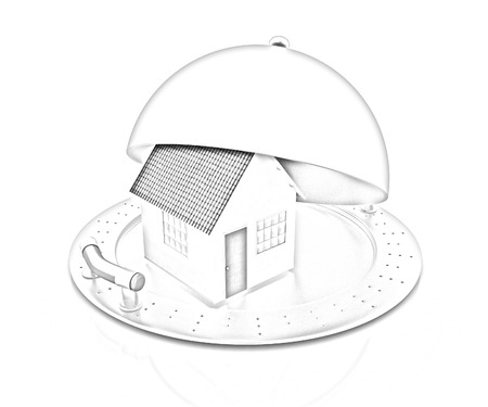 house on restaurant cloche isolated on white background photo