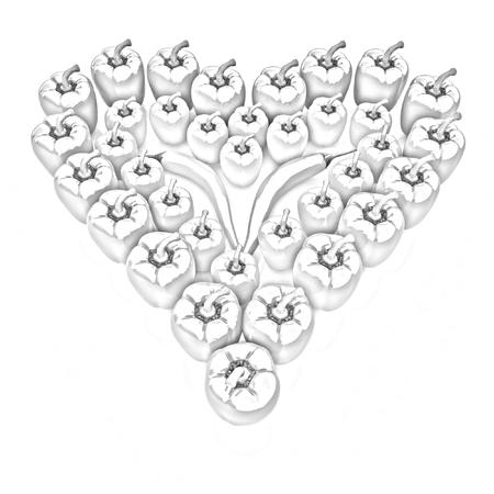 Bulgarian Pepper Heart Shape, On White Background photo
