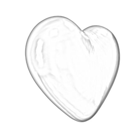 3d glossy metall heart isolated on white background photo
