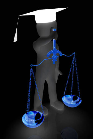 criminal act: 3d man - magistrate with gold scales. Isolated over white