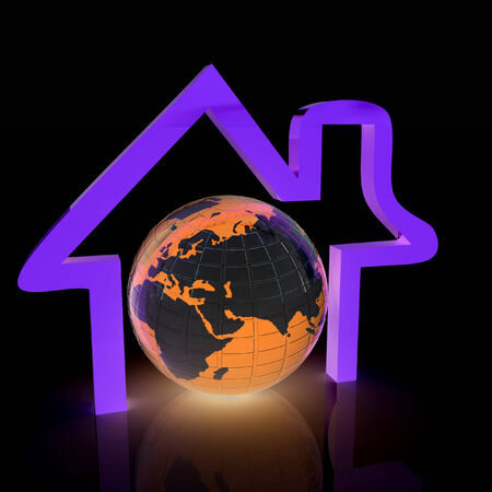 3d green icon house, earth on white background