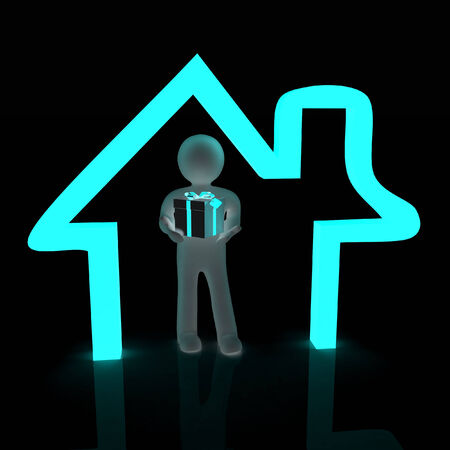 Presentation of new house. 3d man holds the gift, and is within the red icon house photo