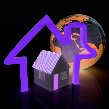3d green house, earth and icon house on white background photo