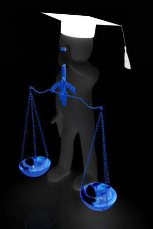 magistrate: 3d man - magistrate with gold scales. Isolated over white