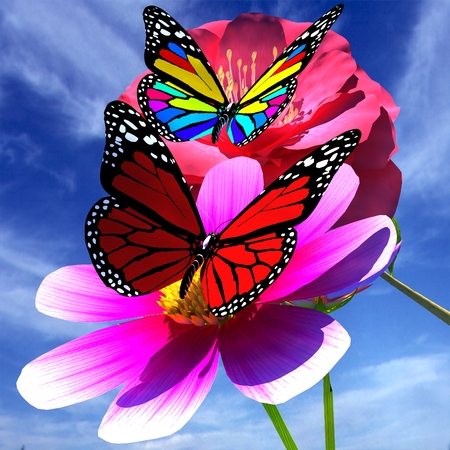 3d butterfly: Beautiful Flower and butterfly against the sky Stock Photo