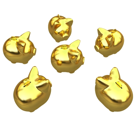 large group of items: gold coin with with the gold piggy banks