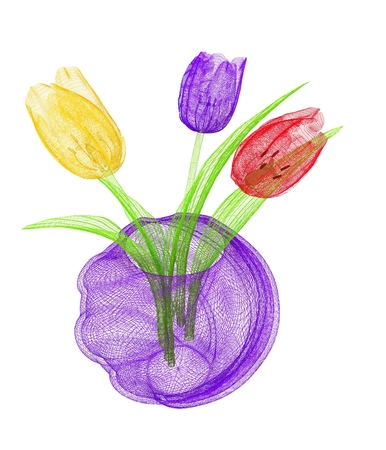 Tulips with leaf in vase photo