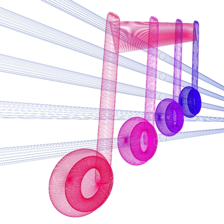 3d music: 3D music note on staves