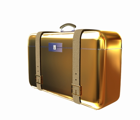 portmanteau: Golden suitcase Stock Photo