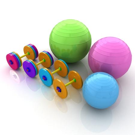 dumbell: Fitness ball and dumbell