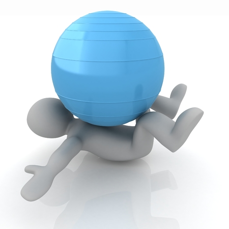 abdominal exercise: 3d man exercising position on fitness ball. My biggest pilates series