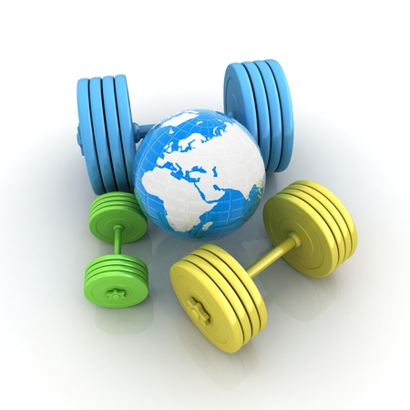 hand with dumbbell: dumbbells and earth