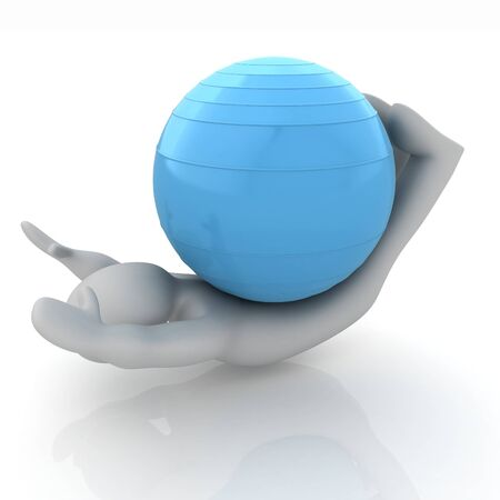 pilates ball: 3d man exercising position on fitness ball. My biggest pilates series
