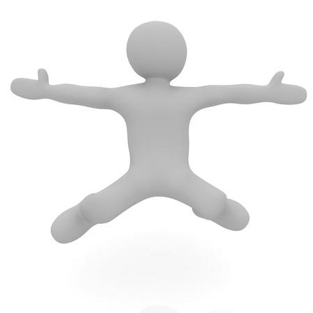 caida libre: la ca�da del hombre 3d en el fondo blanco