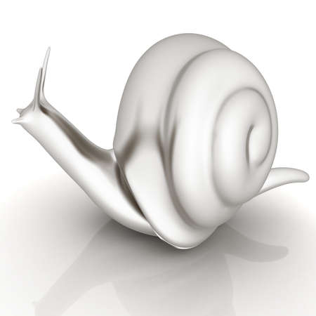 slow food: 3d fantasy animal, snail on white background