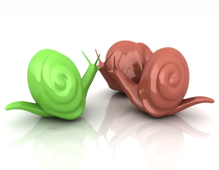 3d fantasy animals, snails on white background