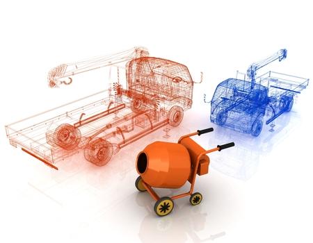 3 d モデル コンクリート ミキサーとトラック