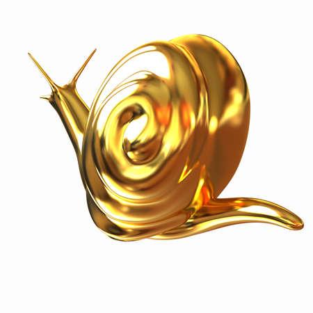 slow food: 3d fantasy animal, gold snail on white background Stock Photo
