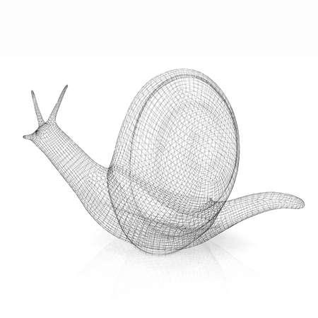 3d fantasy animal, snail on white background photo