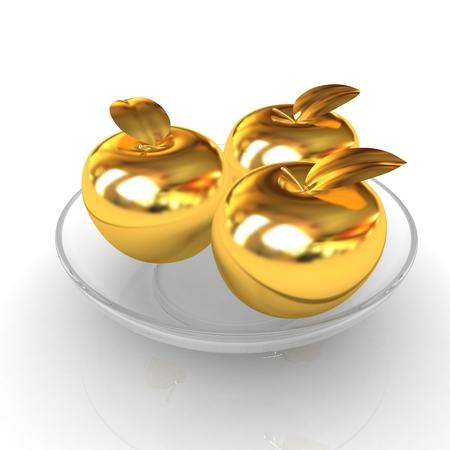 Gold apples on a plate Reklamní fotografie - 39133955