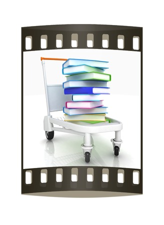books in cart on a white background. The film strip with place for your text photo