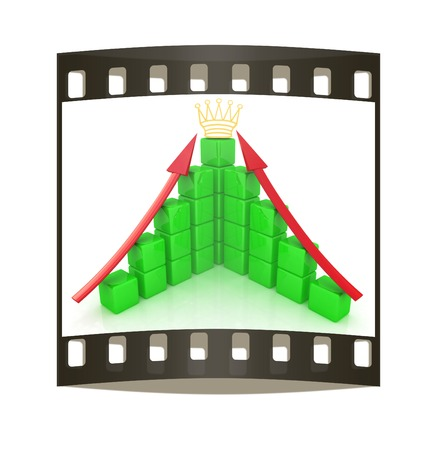 infra construction: cubic diagramatic structure and crown on a white background. The film strip