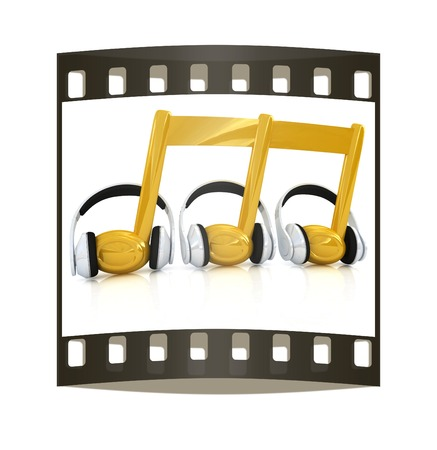 improvisation: headphones and 3d note on a white background. The film strip Stock Photo