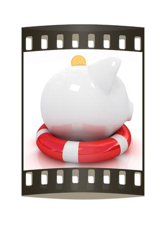 path to wealth: piggy bank on lifebuoy on white background. The film strip Stock Photo