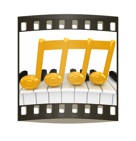 3d note on a piano. The film strip Stock Photo