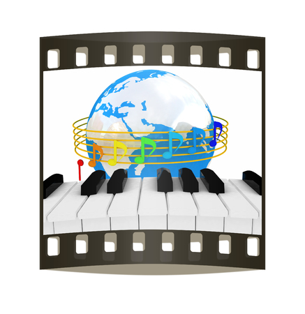 quavers: Global Music. Isolated on white background. The film strip Stock Photo