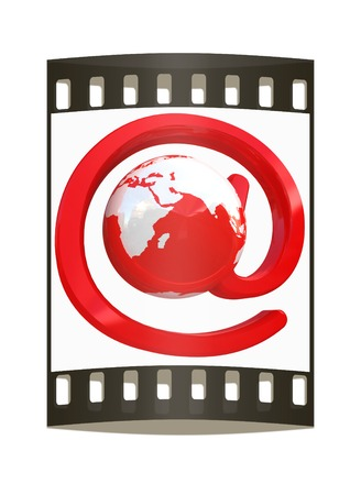 seizure: Glossy icon with mail for Earth on a white background. The film strip
