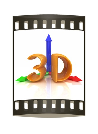 bevel: 3d text on a white background. The film strip