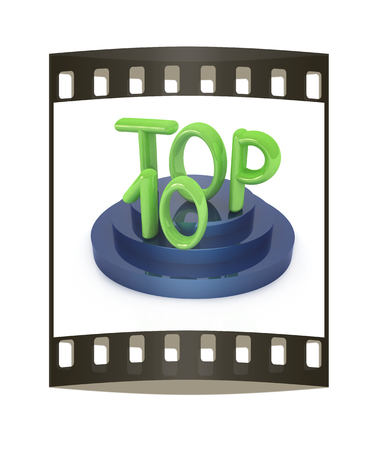 one hundred and ten: Top ten icon on white background. 3d rendered image. The film strip with place for your text
