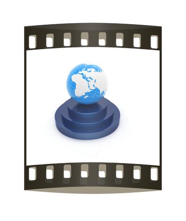 earth on podium on a white background. The film strip photo