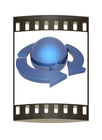 blue sphere: Abstract blue sphere and arrows on a white background. The film strip