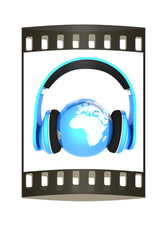 music 3d: World music 3D render of planet Earth with headphones  on a white background. The film strip